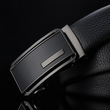 New simple luxury brand mens leather business belt high quality automatic buckle black