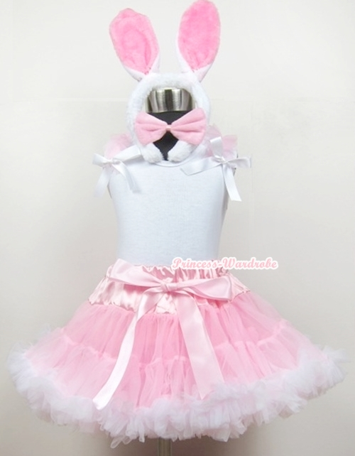 White Tank Top With Light Pink Ruffles & White Bows With Light Pink White Pettiskirt With White Rabbit Costume MAMG369 reigning champ ringspun tank top white