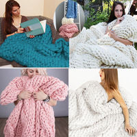 1PCS Hand Chunky Knitted Blanket Thick Yarn Merino Wool Bulky Knitting Blanket Throw 80x100cm Drop Shopping