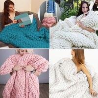 1 unids mano chunky punto manta gruesa Hilado lana merino voluminosos manta tejer Mantas 80x100 cm compras de la gota #7830