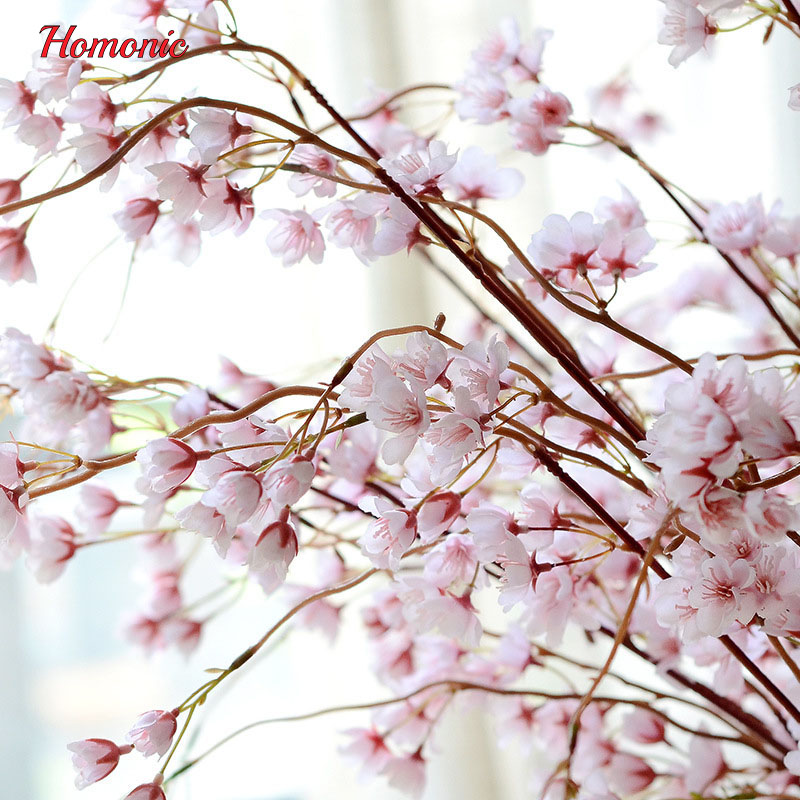 High Quality Artificial Cherry Blossoms Branches Fabric Snowflake Beautiful Wedding Decoration Flowers Snow Arch Flower In Dried