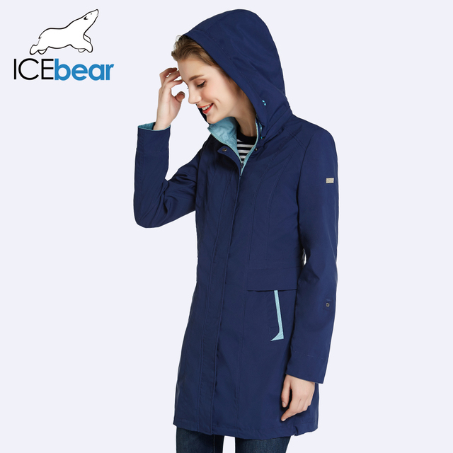 ICEbear 2017 Womens Coat High Quality Autumn And Spring Long Trench Coat For Women Windbreaker Hat Detachable