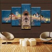 그림 Cuadros 워크 홈 장식 벽 예술 5 패널 예술 원피스 포스터 캔버스 모듈 사진 룸 인쇄