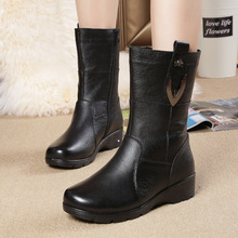 autumn winter High quality Genuine leather women snow boots wedges medium-leg winter boot woman shoes