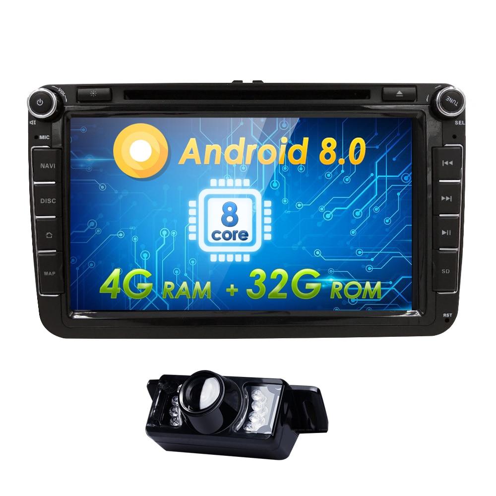 AutoRadio 2Din GPS Android 8.0 Car DVD Player for skoda octavia 2 3 rapid Golf 5 V 6 VW passat b6 T5 polo seat leon altea Amarok