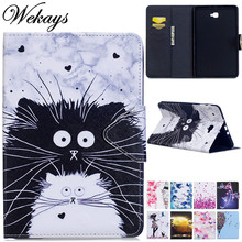 Wekays For Samsung Tab A6 10.1 T580 Cartoon Cat Leather Case For Samsung Galaxy Tab A 6 2016 10.1 T585 T580 SM-T585 Cover Cases цена и фото