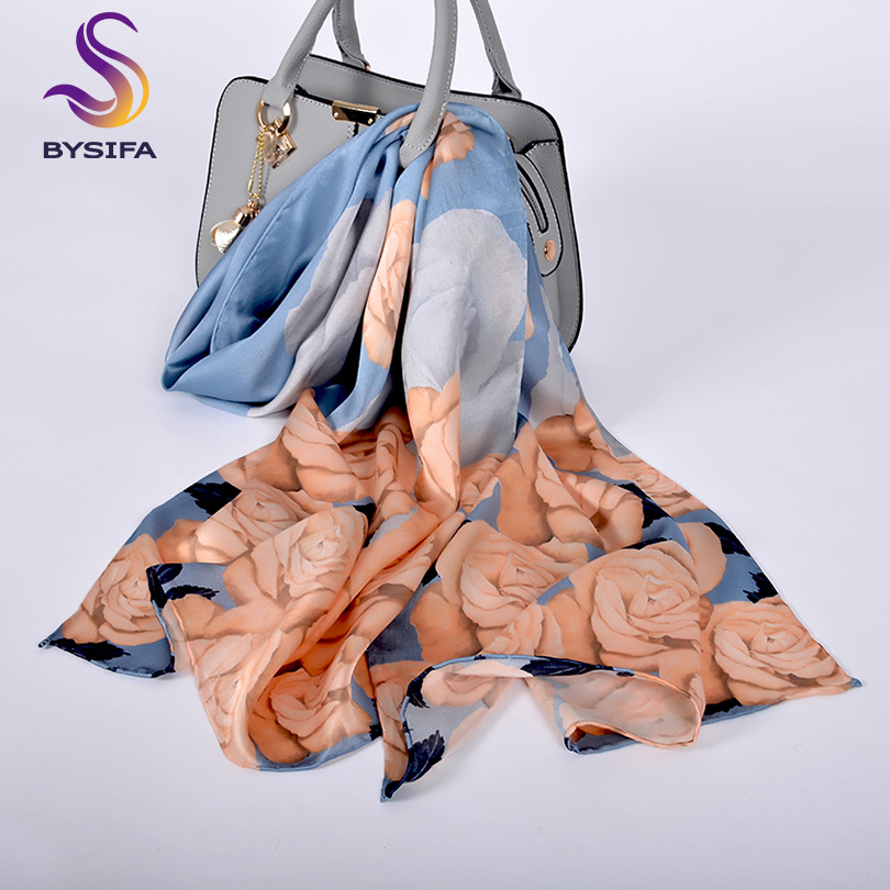 [BYSIFA] Women Grey Blue Silk   Scarf   Shawl Fashion Elegant Rose Design 100% Pure Silk Long   Scarves     Wraps   Spring New Women   Scarf