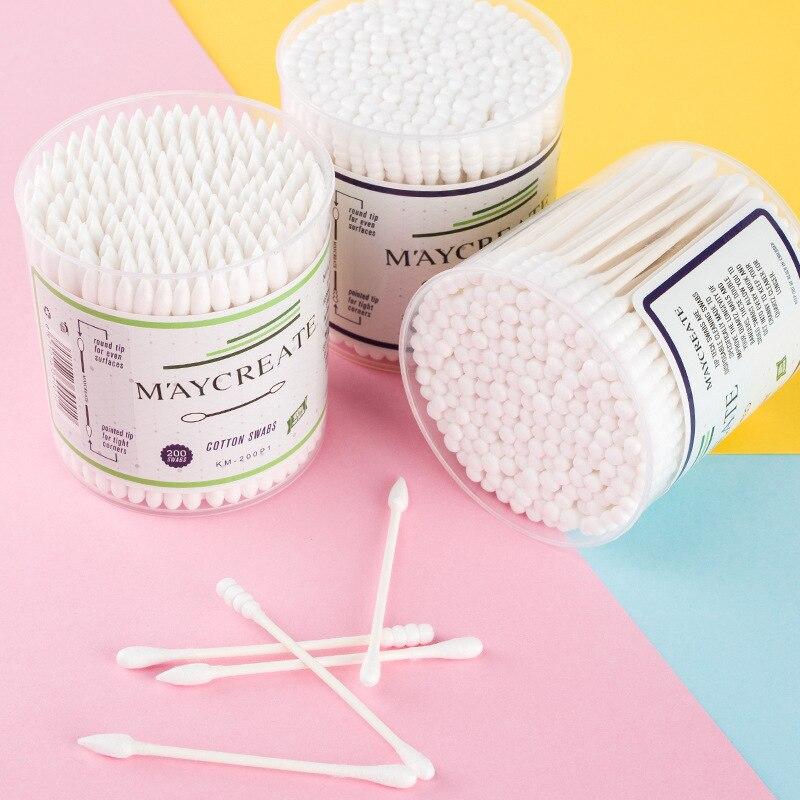200 Stücke Sauber Baumwolle Knospen Ohr Sauber Kosmetische Baumwolle Tupfer Doppel Kopf Ended Werkzeuge Kunden Zuerst Schönheit & Gesundheit