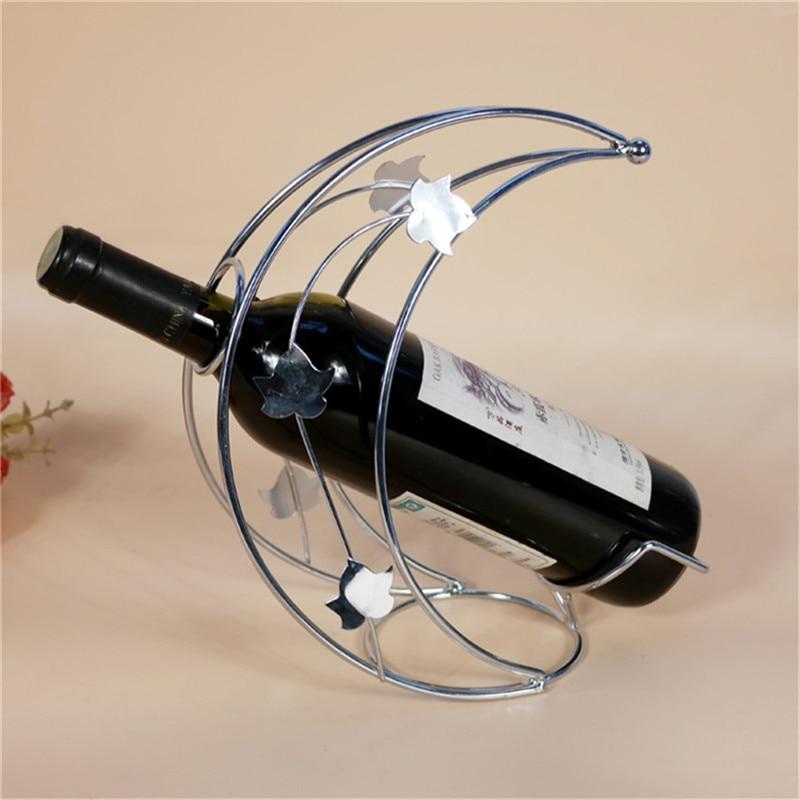 Crescent Moon Shape Metal Wine Rack Tabletop Wine Bottle Holder For