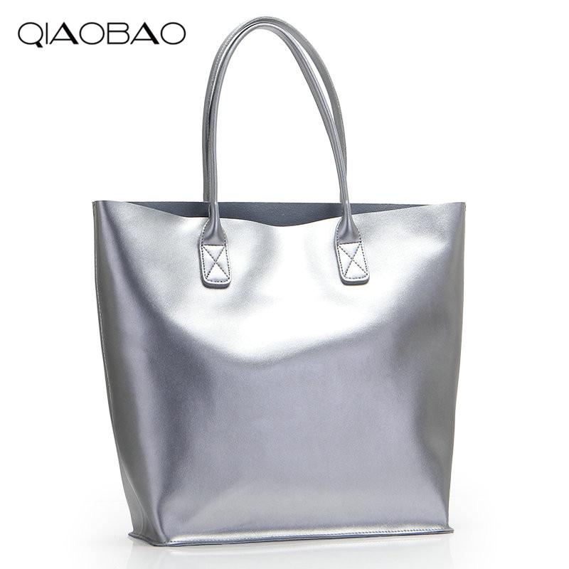 4b0948b9091c QIAOBAO 2018 Famous Women Genuine Leather Handbags Silver Color Shoulder  Tote Bag Golden Silver Black Composite