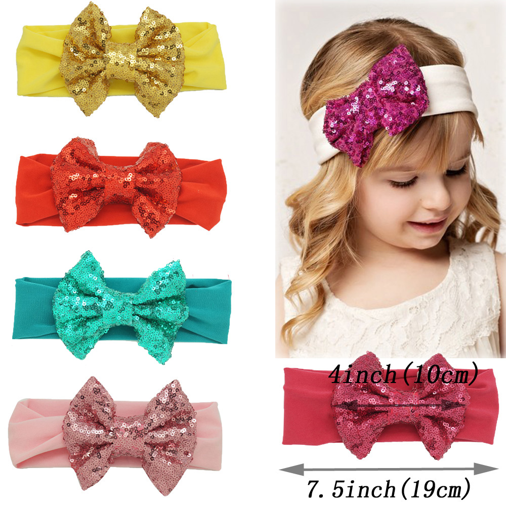 Boutique Shining Sequins Big Bow Headbands For Girls Solid Stretch Cotton Turban Headwraps Hair Accessories pretty girls boutique shining glitter bow hair bands for dance party children toddler hair accessories