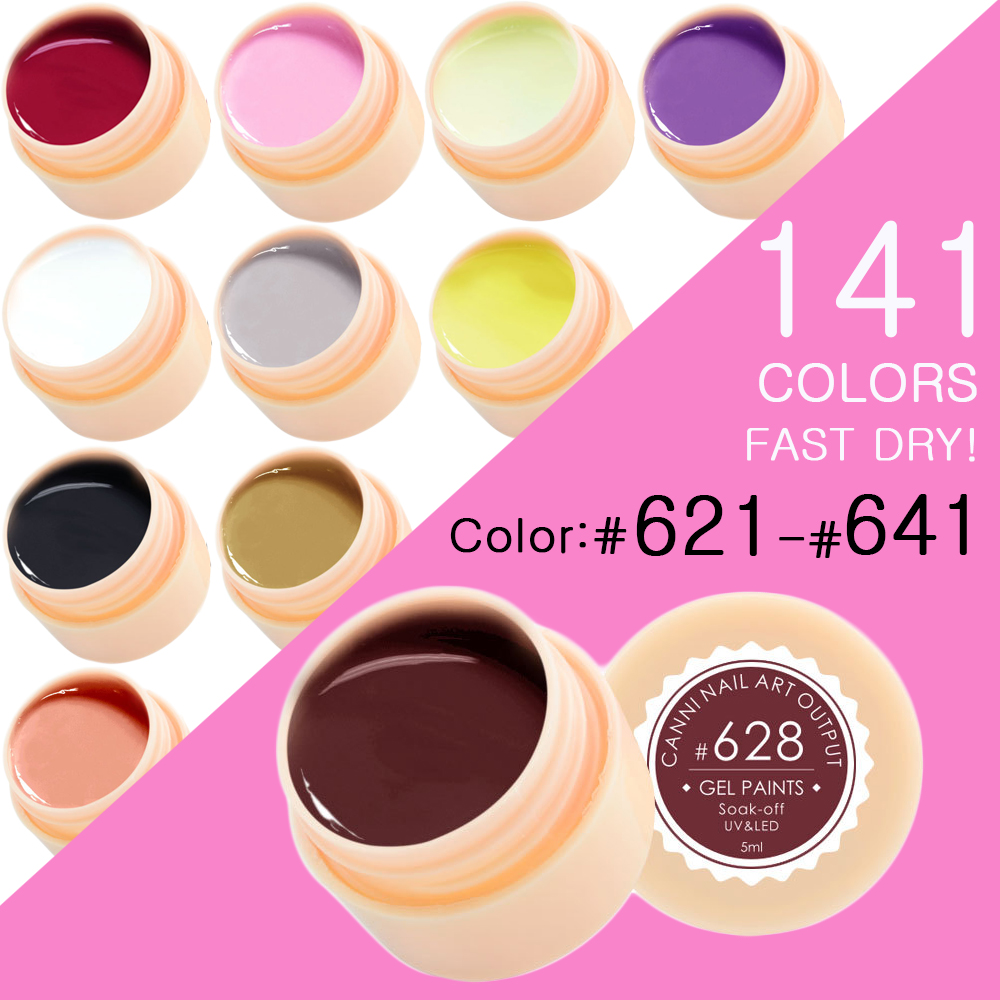 CANNI Nail Painting Gel Varnish 141 Pure Colors Gelpolish UV LED Soak Off Gel Nail Polish Color(621-641)