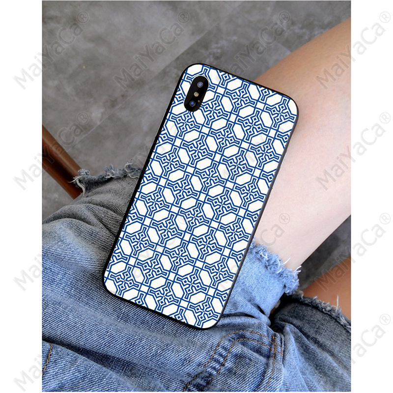 MaiYaCa Blue white texture Customer High Quality Phone Case for iPhone X XS MAX 6 6S 7 7plus 8 8Plus 5 5S XR in Half wrapped Cases from Cellphones Telecommunications