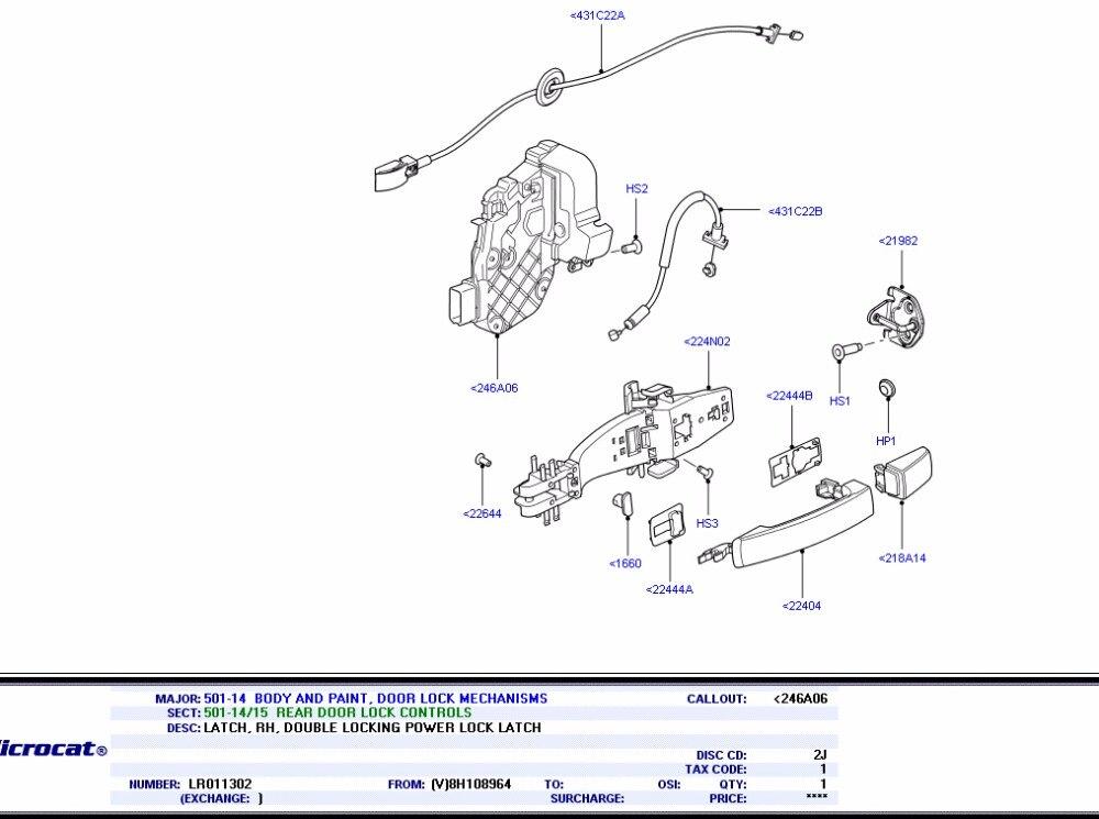 2 DISCO 3//4//Sport freelander 2 evoque right REAR DOOR LOCK  MECHANISM LR011302
