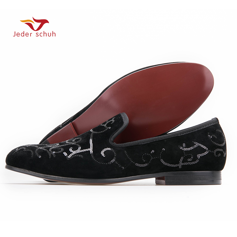 2017 men Luxurious Handmade Sequin  Flats fashion pointed toe men velvet loafers slip on men shoes zapatillas US siza 6-13 pu pointed toe flats with eyelet strap