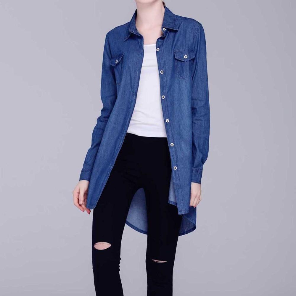 Casual Long Blue Femmes Chemise Blouses D'été Chemises Longue retour Dark light Avant Court Bleu Belle Denim Nouveau Blue Longues Lâche Pas Cher Vêtements Sexy Lady wZnqFB