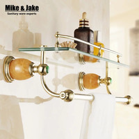 Bathroom Accessories Solid Metal Bathroom Shelf Golden Finish With Tempered Glass Single Glass Shelf Bathroom Corner