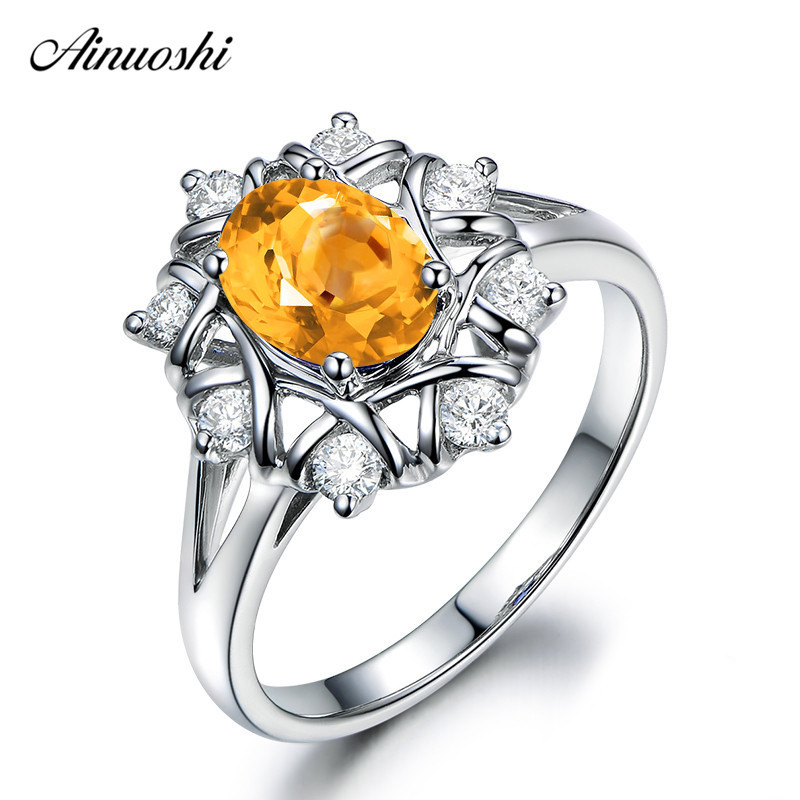 AINUOSHI Natural Citrine Weaving Ring 1.5ct Oval Cut Gems 925 Sterling Silver Twisted Ring Engagement Party Jewelry Women Ring weaving shape embellished alloy ring
