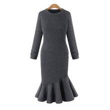 Черный оборками вязаное платье женские элегантные с длинным рукавом осень-зима платье с русалочкой свитер Офис Bodycon Платья для женщин тонкий vestidos