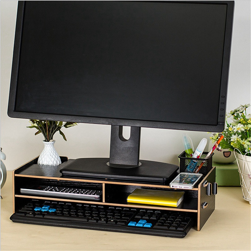 New Desktop Monitor Stand Computer Screen Riser Wood Shelf