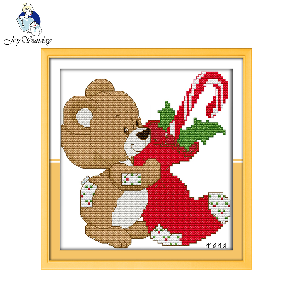 Joy Sunday Little Bear Christmas Stocking 11CT 14CT Counted Print On Canvas Embroidery Cross-Stitch Kit Picture Needlework Sets image