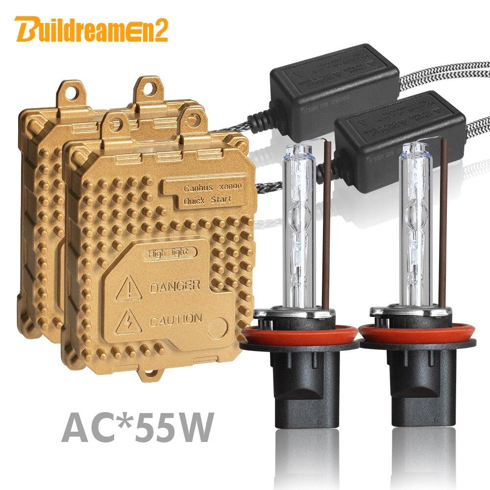 Buildreamen2 55 W voiture phare AC HID Xenon Kit ampoule de Ballast H1 H3 H7 H8 H11 9005 9006 881 4300 K-8000 K Auto phare antibrouillard
