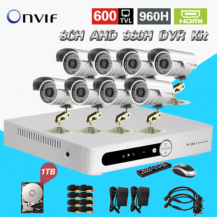 TEATE CCTV 8CH AHD 960h recording DVR recorder with Outdoor Waterproof IR Security video surveillance System 1TB HDD 8 ch CK-190