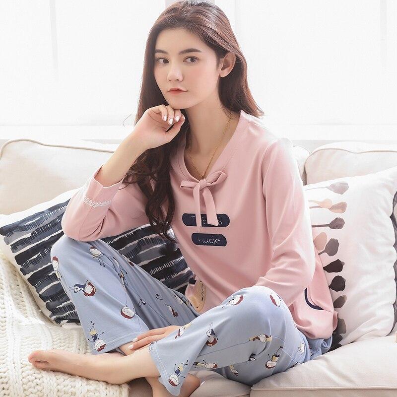 fashion Long Sleeve Pajamas Women Bowknot Sleepwear 2018 Spring Autumn Casual 100% Cotton NightWear Ladys Home Wear pajamas set