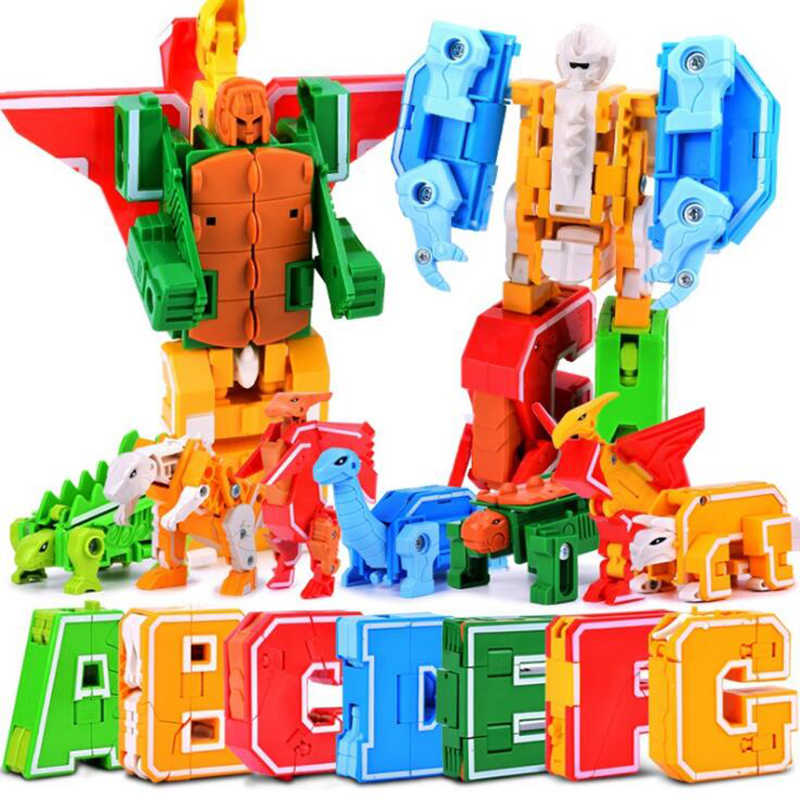Creative Magic  English Letter Transformation Alphabet Robot Animal Toys Educational Blocks Deformed digital robot Action Figure