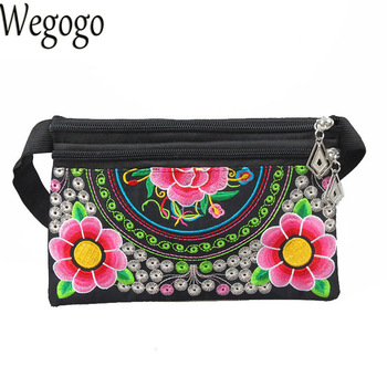 New Women Waist Packs Hmong National Flower Embroidery Bag Double Zipper Phone Long Wallet Day Clutch Small Handbag online shopping in pakistan with free home delivery