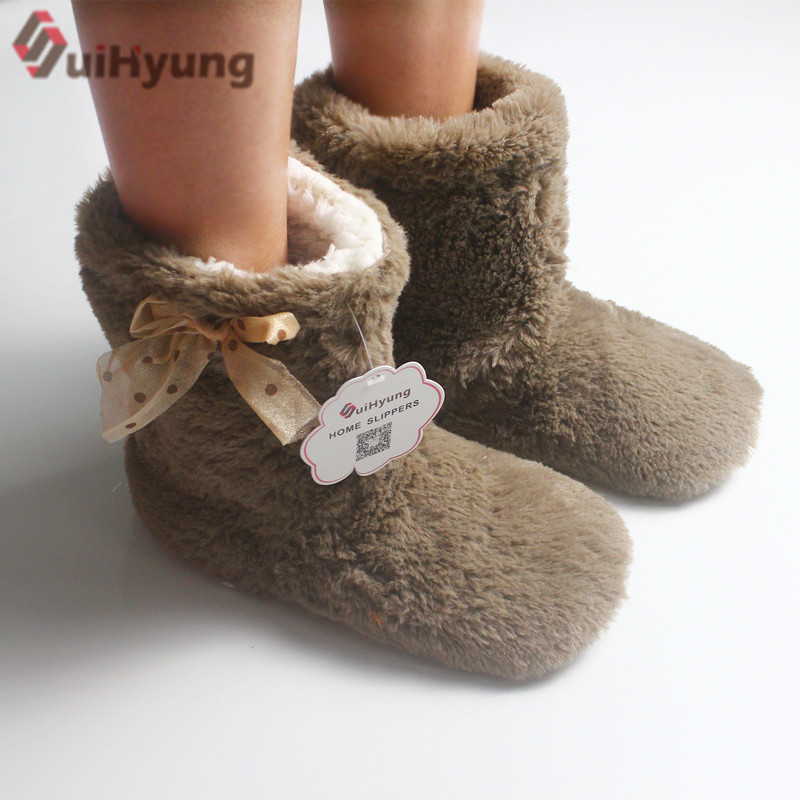 Suihyung Winter Warm Women Indoor Shoes Cotton-padded Shoes Botas Plush Thick Home Slippers Female Bedroom Floor Shoes Slippers suihyung women winter warm soft sole plush cotton padded shoes coral fleece home slippers indoor shoes foot warmer floor socks
