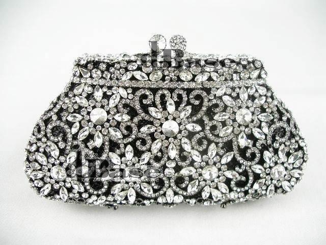 ФОТО #8126 Crystal Flower Floral Bridal Party Black hollow Metal Evening purse clutch bag handbag case