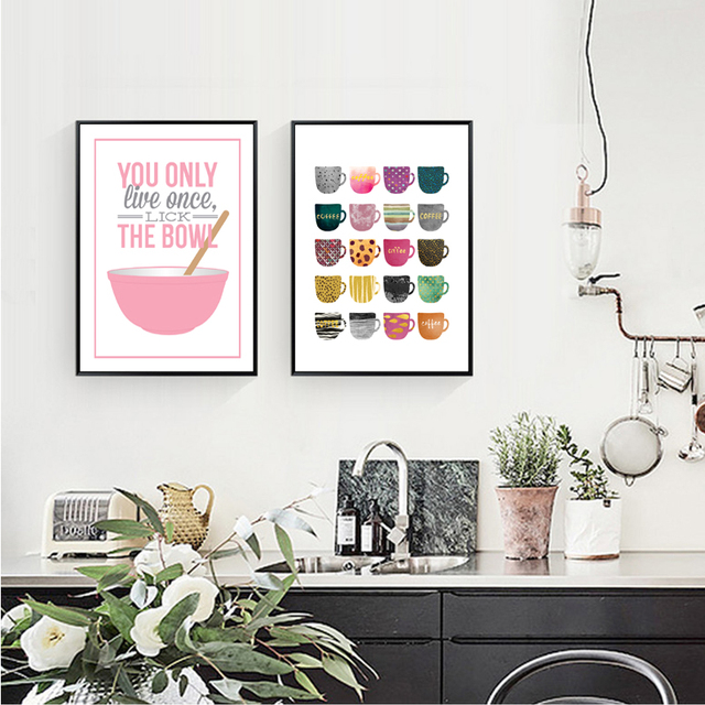 You Only Live Once Multi Colori Tazze Tela Dipinti Moderna Nordic ...