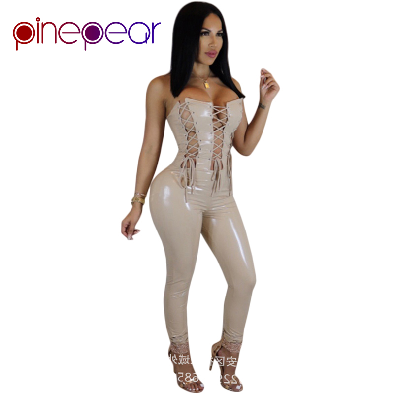 PinePear Fashion Shining PU Bodycon Jumpsuit 2019 Women Sexy Strapless Off the Shoulder Lace Up Bandage Romper Party Club Wear