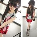 2016 new summer brand girls set fashion design grid children suit plaid elastic baby shorts and kids pants, 4-16Y