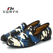 New style Classic Camouflage men Smoking Slippers Handmade mens Mix color canvas loafers casual and Prom flats