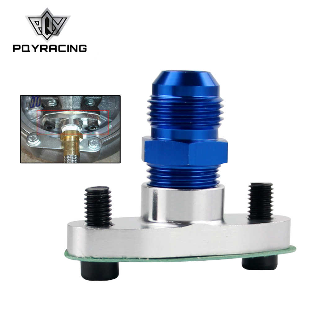 PQY - 1/2 NPT Female Aluminum Oil Drain Turbo Flange T3 T4 T04 GT40 GT55  silver + NPT 1/2 TO10AN Flare Fitting blue str