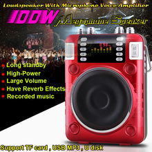 100W Mini Altavoz Portable Radio FM MP3 Player Speaker Megaphone Loudspeaker With Microphone Voice Amplifier For Sale Promotion