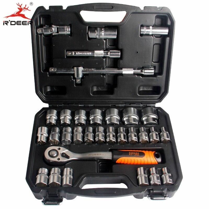 """RDEER 32pcs 1/2"""" Torque Socker Ratchet Wrench 72T CR-V Repair Tools Hand Tool Set"""