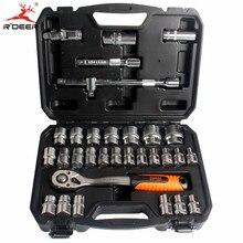 RDEER 32pcs 1/2″ Torque Socker Ratchet Wrench 72T CR-V Repair Tools Hand Tool Set