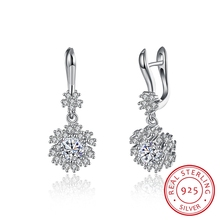 MAKALLIA 925Sterling si Jewelry Earrings Top Quality AAA CZ snowflake Shaped crystal drop Earrings For Women Wedding earrings(China)
