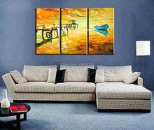 3  piece canvas wall art Abstract modern handpainted decorated boat Knife oil handmade painting on canvas for bedroom decoration