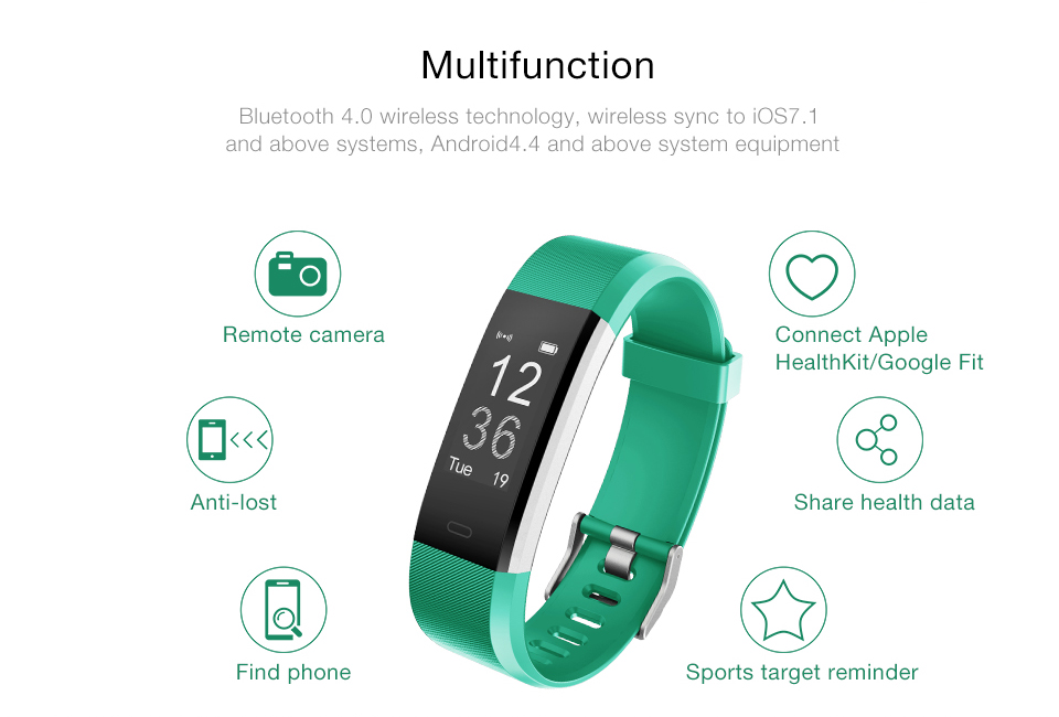 Hot Smart Wristband ID115 Plus Smart Band pedometer Fitness Bracelet Activity Tracker Mp3 Smart Bracelet Pk fitbit PK mi band 2 5