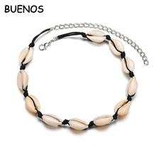 Buenos Bohemia Fashion Black Rope Chain Natural Shell Choker Necklace Collar Necklace Shell Choker Necklace for Summer Beach Gif(China)