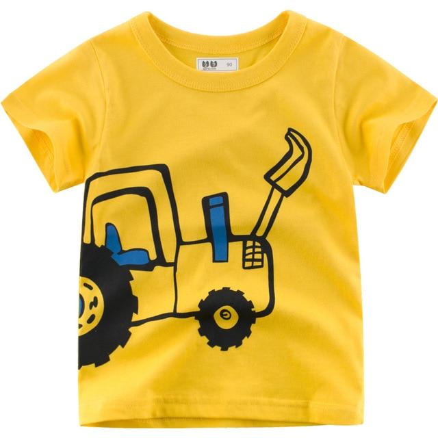 הגעה חדשה קריקטורה דיגר הדפסת כותנה חולצה הקיץ חדש הגעה o צוואר קצר שרוול ילד ילדה חולצות 3 4 5 6 7 8 שנה בגדים