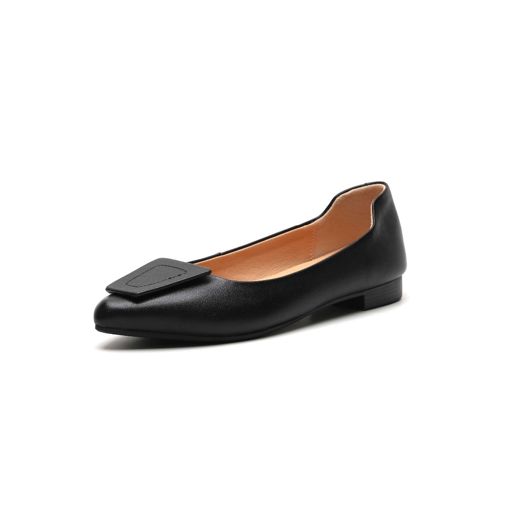 Femme Bout Sur Cuir noir Glissement Chaussures Pointu Costume Oxford Robe Vache Style Le Conduite Beige Faible De Élégant chocolat Appartements Talons 2019 Paresseux Simple Lady L35 tqwHXv