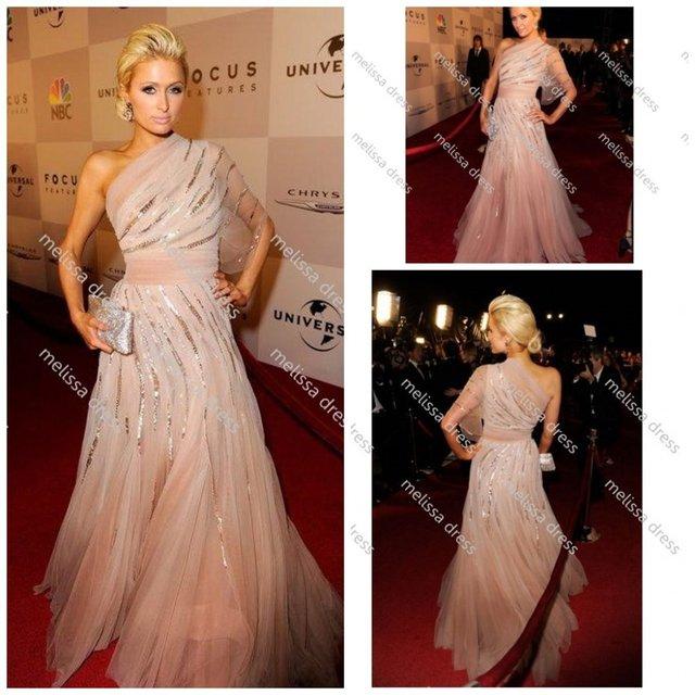 One Shoulder Formal Dress at 2011 Golden Globe Awards After Party Paris Hilton  Celebrity Dresses
