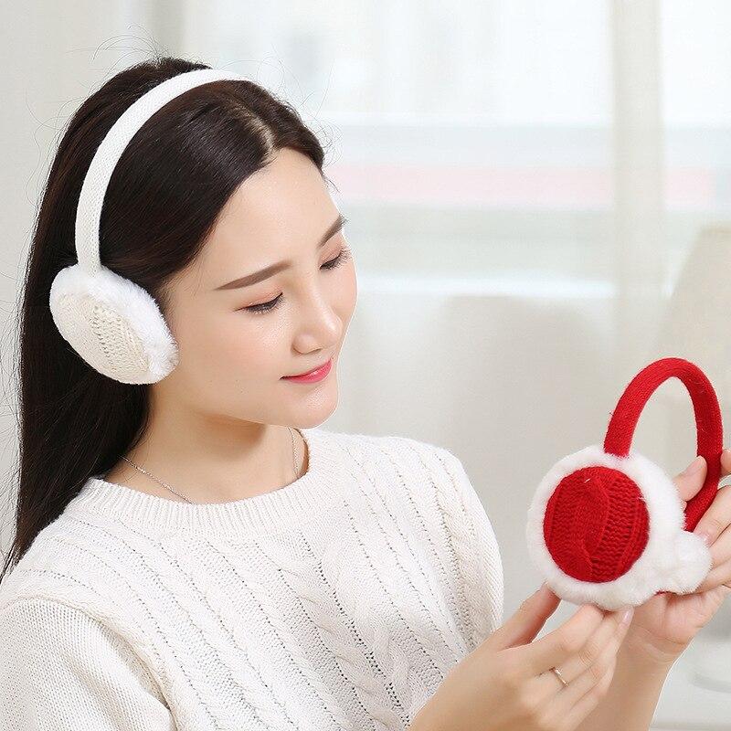 1 Pc Mode Winter Warme Frauen Mädchen Einfache Solide Gestrickte Ohrenschützer Damen Weibliche Komfort Ohr Wärmer Muffs Weihnachten Geschenke