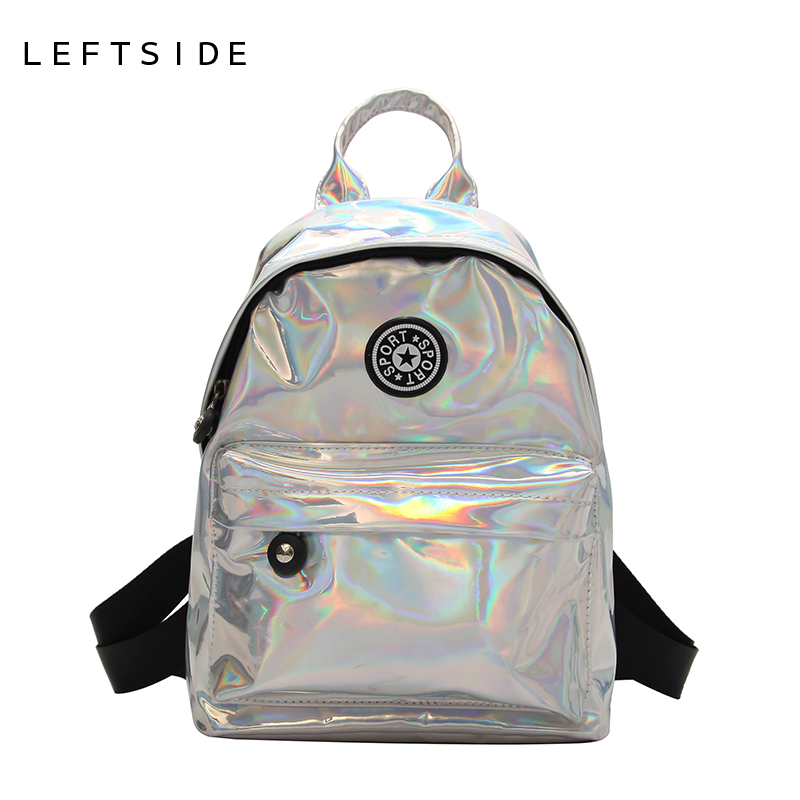 LEFTSIDE Summer 2018 Small Shiny Backpacks For Teenage Girls Feminina Cool Back Pack Women's Bling Backpack Laser Travelling Bag striped travelling carrying bag for cats small