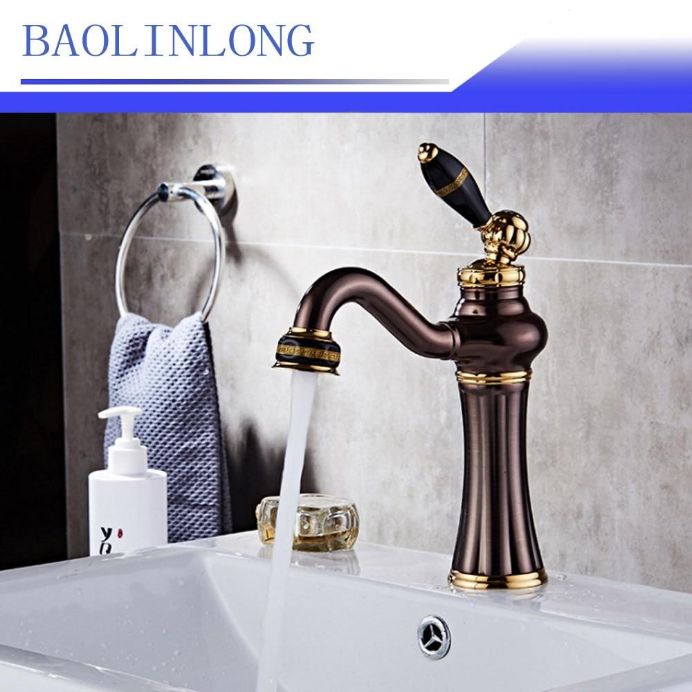 BAOLINLONG Antique Style Brass Bathroom Faucets Deck Mount Vanity Vessel Sinks Mixer Basin Faucet Tap
